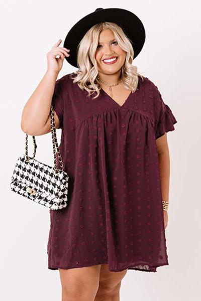Κόκκινο κρασί Plus Size V Neck Ruffle Swiss Dot Mini Dress με τσέπη