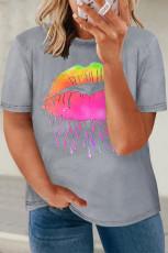 Grå T-shirt med neonlæber, grafisk størrelse