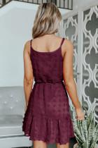 Vinrød schweizisk prik spaghetti snor mini kjole