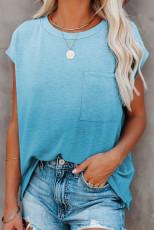 Himmelblå gradient farve kortærmet T-shirt med lomme