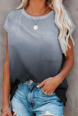 Grå gradient farve kortærmet T-shirt med lomme