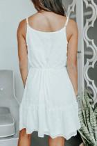 Hvid schweizisk prik spaghetti snor mini kjole