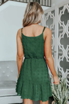 Grøn schweizisk prik spaghetti snor mini kjole