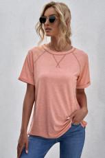 ピンクのヘザーラウンドネックTシャツ