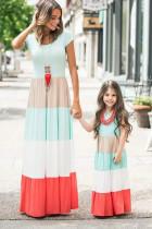 Οικογενειακή Αντιστοίχιση Κοντό Μανίκι Χρώμα Μπλοκ για ενήλικες Maxi φόρεμα