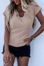 Μπλε μπλουζάκι με ραβδώσεις σε ροζ χρώμα