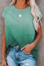 Grøn gradient farve kortærmet T-shirt med lomme