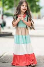 Familiematchende kortærmet farveblok Børne-maxikjole