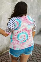 Tie-dye Print Leopard stribet Raglan ærme Plus størrelse T-shirt