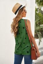 Green Star Print Knit Tank με σχισμές