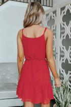 Μίνι φόρεμα με κορδόνια με κορδόνι κόκκινο Swiss Dot Spaghetti
